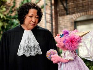 Justice Sotomayor during a brief stint representing the muppets in court.